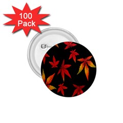 Colorful Autumn Leaves On Black Background 1 75  Buttons (100 Pack)  by Amaryn4rt