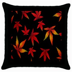 Colorful Autumn Leaves On Black Background Throw Pillow Case (black) by Amaryn4rt