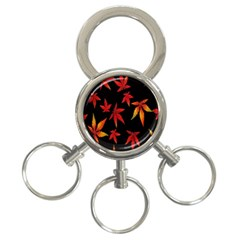 Colorful Autumn Leaves On Black Background 3 Ring Key Chains by Amaryn4rt
