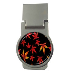 Colorful Autumn Leaves On Black Background Money Clips (round)  by Amaryn4rt
