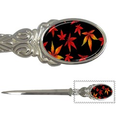 Colorful Autumn Leaves On Black Background Letter Openers by Amaryn4rt