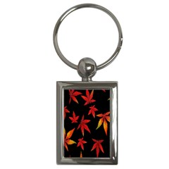 Colorful Autumn Leaves On Black Background Key Chains (rectangle)  by Amaryn4rt