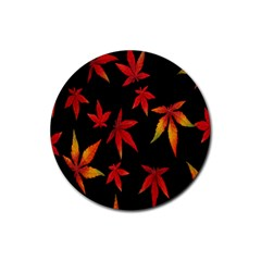 Colorful Autumn Leaves On Black Background Rubber Round Coaster (4 Pack)  by Amaryn4rt
