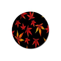 Colorful Autumn Leaves On Black Background Magnet 3  (round) by Amaryn4rt