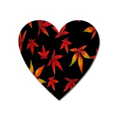 Colorful Autumn Leaves On Black Background Heart Magnet by Amaryn4rt
