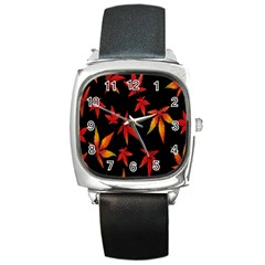 Colorful Autumn Leaves On Black Background Square Metal Watch