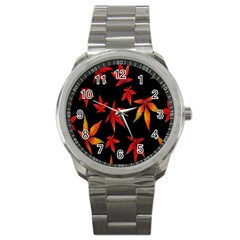 Colorful Autumn Leaves On Black Background Sport Metal Watch by Amaryn4rt