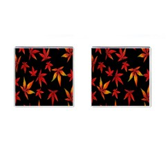Colorful Autumn Leaves On Black Background Cufflinks (square) by Amaryn4rt