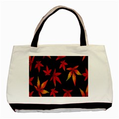 Colorful Autumn Leaves On Black Background Basic Tote Bag by Amaryn4rt