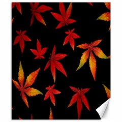 Colorful Autumn Leaves On Black Background Canvas 8  X 10