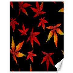 Colorful Autumn Leaves On Black Background Canvas 36  X 48   by Amaryn4rt