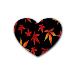 Colorful Autumn Leaves On Black Background Rubber Coaster (heart)  by Amaryn4rt