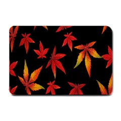 Colorful Autumn Leaves On Black Background Small Doormat  by Amaryn4rt