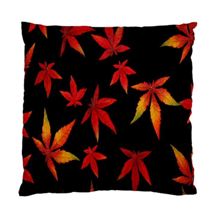 Colorful Autumn Leaves On Black Background Standard Cushion Case (Two Sides)