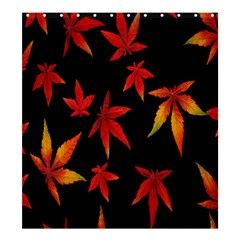 Colorful Autumn Leaves On Black Background Shower Curtain 66  X 72  (large)  by Amaryn4rt