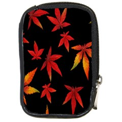 Colorful Autumn Leaves On Black Background Compact Camera Cases by Amaryn4rt