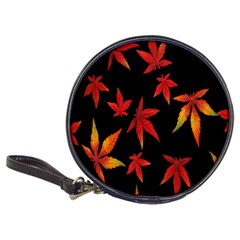 Colorful Autumn Leaves On Black Background Classic 20 Cd Wallets by Amaryn4rt