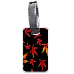 Colorful Autumn Leaves On Black Background Luggage Tags (one Side)  by Amaryn4rt