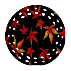 Colorful Autumn Leaves On Black Background Round Filigree Ornament (two Sides) by Amaryn4rt