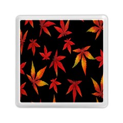 Colorful Autumn Leaves On Black Background Memory Card Reader (square)  by Amaryn4rt