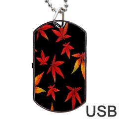 Colorful Autumn Leaves On Black Background Dog Tag Usb Flash (one Side) by Amaryn4rt