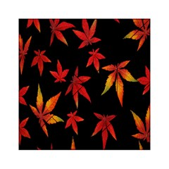 Colorful Autumn Leaves On Black Background Acrylic Tangram Puzzle (6  X 6 ) by Amaryn4rt