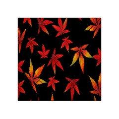 Colorful Autumn Leaves On Black Background Acrylic Tangram Puzzle (4  X 4 ) by Amaryn4rt