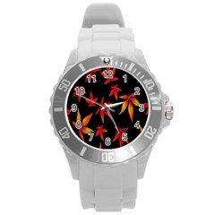 Colorful Autumn Leaves On Black Background Round Plastic Sport Watch (l) by Amaryn4rt