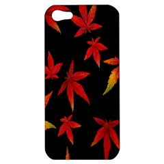 Colorful Autumn Leaves On Black Background Apple Iphone 5 Hardshell Case by Amaryn4rt