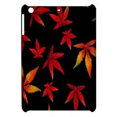 Colorful Autumn Leaves On Black Background Apple Ipad Mini Hardshell Case by Amaryn4rt