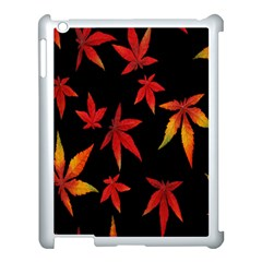 Colorful Autumn Leaves On Black Background Apple Ipad 3/4 Case (white) by Amaryn4rt