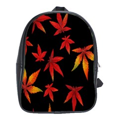 Colorful Autumn Leaves On Black Background School Bags (xl)  by Amaryn4rt