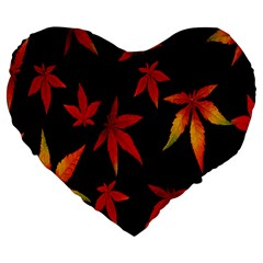 Colorful Autumn Leaves On Black Background Large 19  Premium Heart Shape Cushions by Amaryn4rt