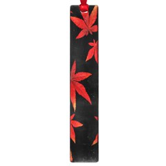 Colorful Autumn Leaves On Black Background Large Book Marks by Amaryn4rt