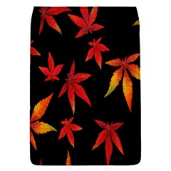 Colorful Autumn Leaves On Black Background Flap Covers (s)  by Amaryn4rt