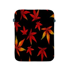 Colorful Autumn Leaves On Black Background Apple Ipad 2/3/4 Protective Soft Cases by Amaryn4rt
