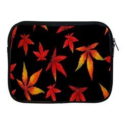 Colorful Autumn Leaves On Black Background Apple Ipad 2/3/4 Zipper Cases by Amaryn4rt