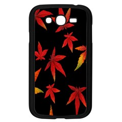 Colorful Autumn Leaves On Black Background Samsung Galaxy Grand Duos I9082 Case (black) by Amaryn4rt