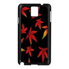 Colorful Autumn Leaves On Black Background Samsung Galaxy Note 3 N9005 Case (black) by Amaryn4rt