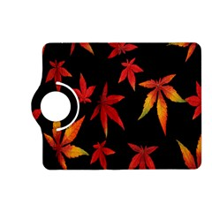 Colorful Autumn Leaves On Black Background Kindle Fire Hd (2013) Flip 360 Case by Amaryn4rt