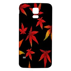 Colorful Autumn Leaves On Black Background Samsung Galaxy S5 Back Case (white) by Amaryn4rt