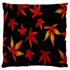 Colorful Autumn Leaves On Black Background Large Flano Cushion Case (one Side) by Amaryn4rt
