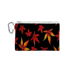 Colorful Autumn Leaves On Black Background Canvas Cosmetic Bag (s) by Amaryn4rt