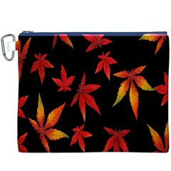 Colorful Autumn Leaves On Black Background Canvas Cosmetic Bag (xxxl) by Amaryn4rt