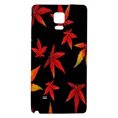 Colorful Autumn Leaves On Black Background Galaxy Note 4 Back Case by Amaryn4rt