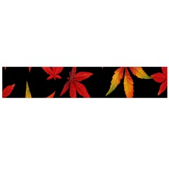 Colorful Autumn Leaves On Black Background Flano Scarf (large) by Amaryn4rt
