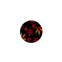 Colorful Autumn Leaves On Black Background 1  Mini Buttons