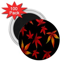 Colorful Autumn Leaves On Black Background 2 25  Magnets (100 Pack)  by Amaryn4rt