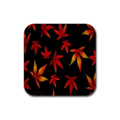 Colorful Autumn Leaves On Black Background Rubber Square Coaster (4 Pack)  by Amaryn4rt
