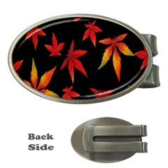 Colorful Autumn Leaves On Black Background Money Clips (oval)  by Amaryn4rt